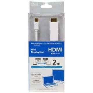 FullHD対応 MiniDisplayPort-HDMI 変換ケーブル 2m ホワイト