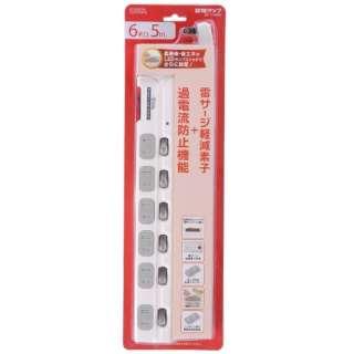 電源タップ6個口 LEDスイッチ付節電タップ 過電流防止機能(5m) HS-T1980W ホワイト [5m]