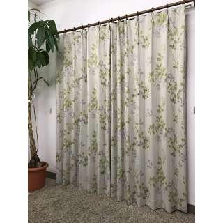 2枚組 ドレープカーテン レリーフ(100×135cm/グリーン)