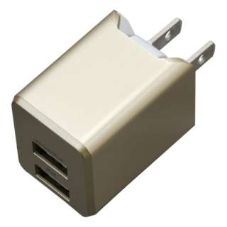 AC充電器+Lightningケーブル 1m PREMIUM ゴールド BU2ULAN3410GD [USB給電対応 /2ポート]