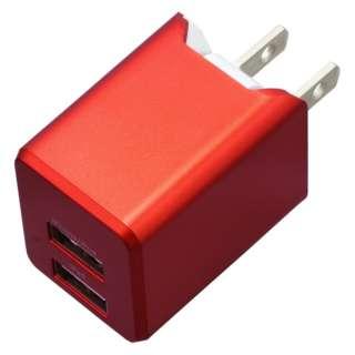 AC充電器+Lightningケーブル 1m PREMIUM レッド BU2ULAN3410RD [2ポート]