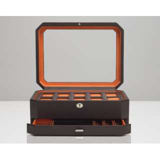 WINDSOR 10 PIECE WATCH BOX WITH DRAWER 458606 ブラウン/オレンジ