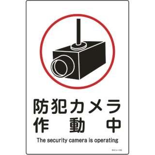 緑十字 イラスト標識 防犯カメラ作動中 450×300mm エンビ