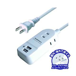 国内タップ Aタイプ AC3P USB2P 2.4A WH 1m