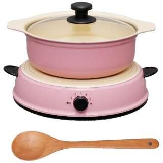 卓上型IH調理器 鍋セット 「HashTAG(ハッシュタグ) Induction cooker & pot」(1口) HT-IC11S-AR アッシュレッド 【ビックカメラグループオリジナル】