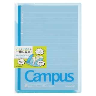 キャンパスカバーノート プリント収容ポケット付き(セミB5・A罫・30枚) ノ-623A-B ブルー