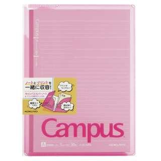 キャンパスカバーノート プリント収容ポケット付き(セミB5・A罫・30枚) ノ-623A-P ピンク