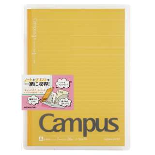 キャンパスカバーノート プリント収容ポケット付き(セミB5・A罫・30枚) ノ-623A-Y イエロー