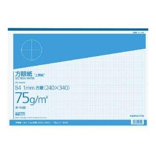 上質方眼紙 はぎ取りタイプ B4 1mm方眼 ブルー刷り 50枚 ホ-14B