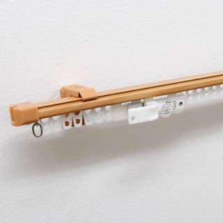 伸縮カーテンレール クロスライド 2m用(110-200cm) シングル ミディアムウッド