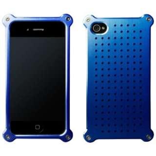 iPhone 4/4S用 アルミジャケット タイプ08 ヘアラインモデル MA-4J08-BLH ブルー