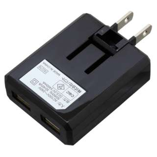 [Type-C] ケーブル付属ケーブル一体型AC充電器3.4A 1.0m BK