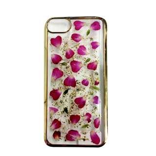 iPhone8/7 (4.7) 押し花ケース Rose red petals PF-I7S-055 ゴールド