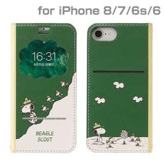 iPhone SE(第2世代)4.7インチ/ iPhone 8/7/6s/6専用 PEANUTS/ピーナッツ/フリップ窓付きダイアリーケース 276-895221 ビーグルスカウト/グリーン
