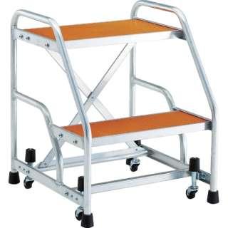 TRUSCO アルミ製作業用踏台 マグネット保持キャスター付 高さ0.6m2段
