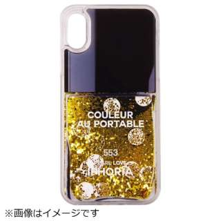 iPhone X TPU Nail Polish Black with Golden Glitter
