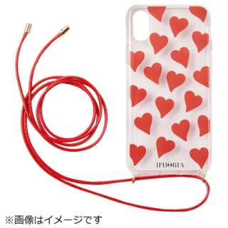 iPhone X TPU Necklace Case Transparent Hearts