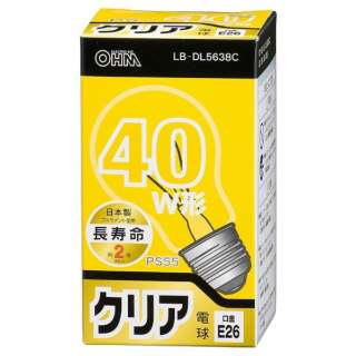 LB-DL5638C 白熱電球 長寿命 クリア [E26 /電球色 /1個 /40W相当 /一般電球形]