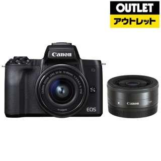 【アウトレット品】 EOS Kiss M ミラーレス一眼カメラ ブラック [ズームレンズ+単焦点レンズ] 【展示品】箱なし