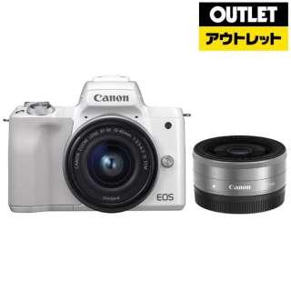 【アウトレット品】 EOS Kiss M ミラーレス一眼カメラ ホワイト [ズームレンズ+単焦点レンズ] 【展示品】箱なし
