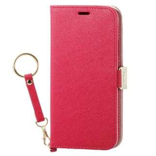 iPhone XS 5.8インチ用  ソフトレザーカバー 女子向 磁石 ストラップ付 PM-A18BPLFJPND