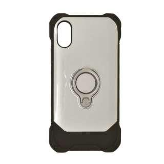 iPhone XR 6.1インチ用 リングスタンドTPU+PCハイブリッドケース 4247IP861HB シルバー