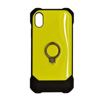 iPhone XR 6.1インチ用 リングスタンドTPU+PCハイブリッドケース 4250IP861HB ネオンイエロー