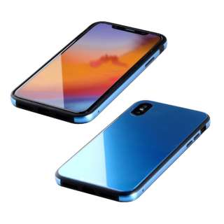 iPhone XS 5.8インチ用 ガラス+TPU+アルミ複合素材ケース サーフブルー BKS-IP18STGGABU