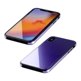 iPhone XS 5.8インチ用 ガラス+TPU+アルミ複合素材ケース バイオレット BKS-IP18STGGAVL
