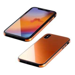 iPhone XS 5.8インチ用 ガラス+TPU+アルミ複合素材ケース オレンジ BKS-IP18STGGAOR