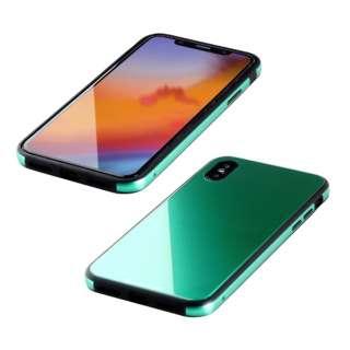 iPhone XS 5.8インチ用 ガラス+TPU+アルミ複合素材ケース エメラルドグリーン BKS-IP18STGGAGN