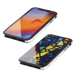 iPhone XS 5.8インチ用 ガラス+TPU+アルミ複合素材ケース 2層印刷 ステンドグラス(マルチ) BKS-IP18STGGASMC