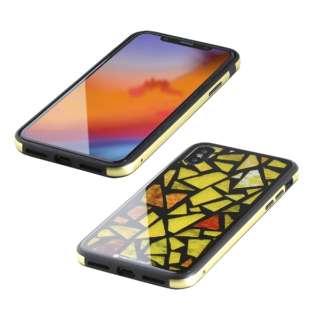 iPhone XS 5.8インチ用 ガラス+TPU+アルミ複合素材ケース 2層印刷 ステンドグラス(イエロー) BKS-IP18STGGASYL