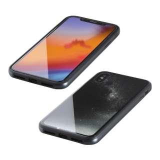 iPhone XS 5.8インチ用 ガラス+TPU+アルミ複合素材ケース 2層印刷 星空(ブラック) BKS-IP18STGGANBK