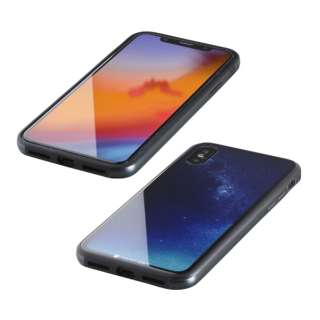 iPhone XS 5.8インチ用 ガラス+TPU+アルミ複合素材ケース 2層印刷 星空(ブルー) BKS-IP18STGGANBU