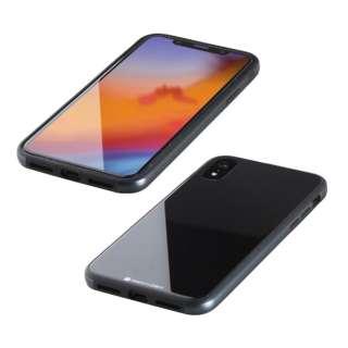 iPhone XR 6.1インチ用  ガラス+TPU+アルミ複合素材ケース ブラック BKS-IP18MTGGABK