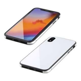 iPhone XR 6.1インチ用  ガラス+TPU+アルミ複合素材ケース ホワイト BKS-IP18MTGGAWH