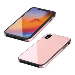 iPhone XR 6.1インチ用  ガラス+TPU+アルミ複合素材ケース ピンク BKS-IP18MTGGAPN