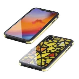 iPhone XR 6.1インチ用  ガラス+TPU+アルミ複合素材ケース 2層印刷 ステンドグラス(イエロー) BKS-IP18MTGGASYL