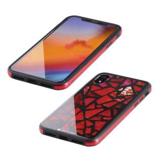 iPhone XR 6.1インチ用  ガラス+TPU+アルミ複合素材ケース 2層印刷 ステンドグラス(レッド) BKS-IP18MTGGASRD