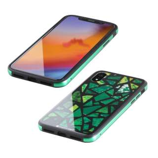 iPhone XR 6.1インチ用  ガラス+TPU+アルミ複合素材ケース 2層印刷 ステンドグラス(グリーン) BKS-IP18MTGGASGN