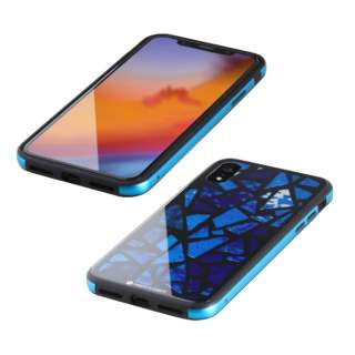 iPhone XR 6.1インチ用  ガラス+TPU+アルミ複合素材ケース 2層印刷 ステンドグラス(ブルー) BKS-IP18MTGGASBU