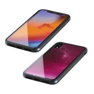 iPhone XR 6.1インチ用  ガラス+TPU+アルミ複合素材ケース 2層印刷 星空(ピンク) BKS-IP18MTGGANPN