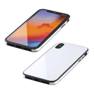 iPhone XS Max 6.5インチ用 ガラス+TPU+アルミ複合素材ケース ホワイト BKS-IP18LTGGAWH