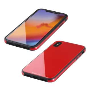 iPhone XS Max 6.5インチ用 ガラス+TPU+アルミ複合素材ケース レッド BKS-IP18LTGGARD