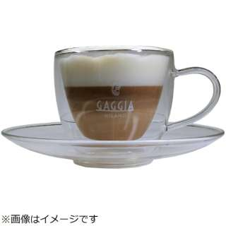 Gaggia特製ガラス製コーヒー / カプチーノカップ&ソーサー CAPP2