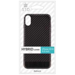iPhone XS Max 6.5インチ対応ハイブリッドケースカーボン調ブラック OWL-CVIA6509-CBBK