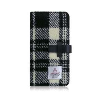 iPhone XS Max 6.5インチ用 Harris Tweed Diary ホワイト×ブラック