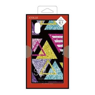 iPhone XR 6.1インチ用 背面ガラスラメケース 三角
