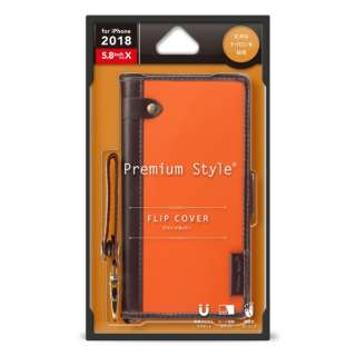 iPhone XS 5.8インチ用 フリップカバー ナイロン生地 PG-18XFP22OR オレンジ